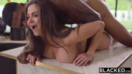 Blonde babe Milana takes a big dick in her big bubble butt