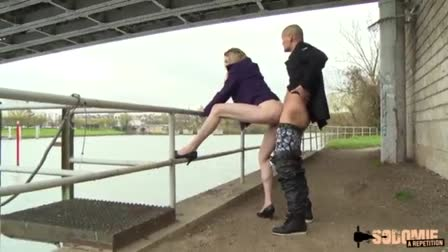 Blonde MILF Cindy Behr gets banged while in a standing position